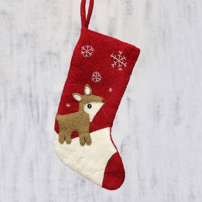 Wool felt stocking, 'Snowy Eve' - Handcrafted Reindeer-Themed Wool Stocking from India