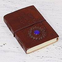 Embossed leather journal, 'Lapis Care' - Leather Bound Handmade Paper Journal with Lapis Lazuli