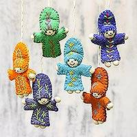 Wool ornaments, 'Dancing Dolls' (set of 6) - Six Colorful Wool Doll Ornaments from India