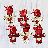 Wool ornaments, 'Festive Dolls' (set of 6) - Six Handcrafted Heart Motif Wool Doll Ornaments from India