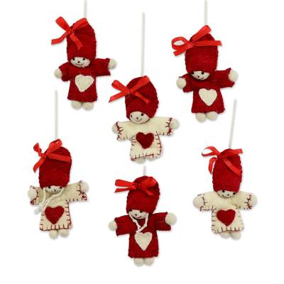 Wool felt ornaments, 'Festive Dolls' (set of 6) - Six Handcrafted Heart Motif Wool Doll Ornaments from India