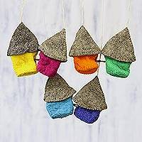Wool ornaments, 'Snow Abodes' (set of 6) - Set of Six Assorted Wool House Ornaments from India