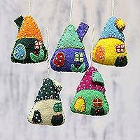 Wool ornaments, 'Festive Huts' (set of 5) - Set of Five Colorful Wool House Ornaments from India