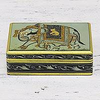 Decorative wood box, 'Elephant Adventure in Sage' - Hand Crafted Kadem Wood Sage Gold Elephant Decorative Box
