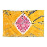 Tie-dyed cotton wall hanging, 'Golden Ambiance' - Handmade Marigold and Rose Cotton Tie-Dyed Wall Hanging
