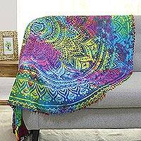 Cotton beach roundie, 'Rainbow Mandala' - Rainbow Colored Cotton Mandala Beach Roundie from India