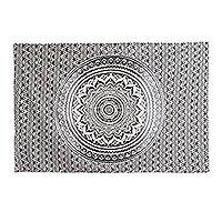 Cotton wall hanging, 'Timeless Mandala' - Black and White Cotton Mandala Wall Hanging Crafted in India