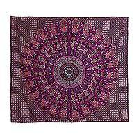 Cotton wall hanging, 'Royal Rajasthan' - Elephant and Paisley Cotton Mandala Wall Hanging from India