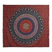 Cotton wall hanging, 'Mughal Nature' - Cotton Mandala Wall Hanging Crafted in India