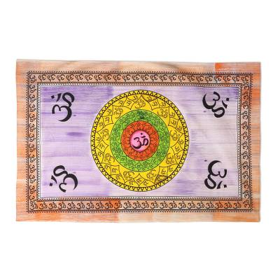 Cotton wall hanging, 'Spiritual Icon' - Cotton Om Mantra Wall Hanging Crafted in India