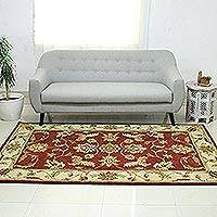 Wool area rug, 'Persian Floral Grandeur' (5x8) - Maroon and Gold Floral Leaf Hand Tufted Wool Area Rug 5x8