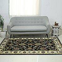 Wool area rug, 'Persian Floral Magnificence' (5x8) - Black Ivory and Brown Floral Hand Tufted Wool Area Rug (5x8)