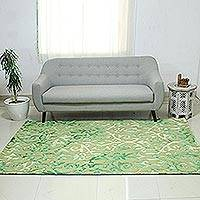 Hand-tufted wool area rug, 'Green Fascination' - Green Raised Abstract Pattern Hand Tufted Wool Area Rug