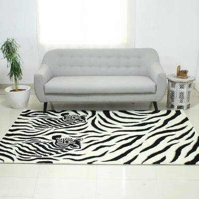 Hand-tufted wool area rug, Zebra Buddies