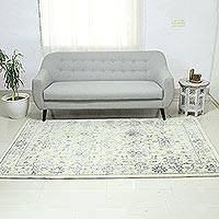 Wool blend area rug, 'Persian Brilliance' (5x8) - Beige Grey Hand Knotted Wool Viscose Rectangle Area Rug 5x8
