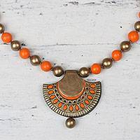 Ceramic pendant necklace, 'Ornate Fan' - Gold and Orange Ceramic Ornate Fan Beaded Pendant Necklace