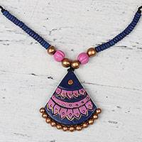 Ceramic pendant necklace, 'Majestic Fan' - Hand-Painted Ceramic Majestic Fan Beaded Pendant Necklace