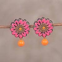Ceramic dangle earrings, 'Sunset Beauty' - Hand-Painted Pink and Orange Floral Ceramic Dangle Earrings