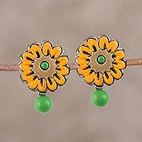Ceramic dangle earrings, 'Sunrise Beauty' - Hand-Painted Green and Orange Floral Ceramic Dangle Earrings