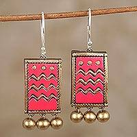 Ceramic dangle earrings, 'Ruby Waves' - Hand-Painted Red and Gold Ceramic Wavy Dangle Earrings