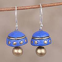 Ceramic dangle earrings, 'Dancing Blue Domes' - Blue and Gold Hand-Painted Ceramic Dome Dangle Earrings