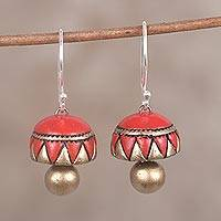 Ceramic dangle earrings, 'Dome of Pyramids' - Red and Gold Hand-Painted Ceramic Dome Dangle Earrings