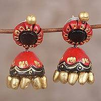 Ceramic dangle earrings, 'Festive Jhumki' - Festive Red Black and Gold Ceramic Jhumki Dangle Earrings