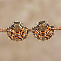 Ceramic button earrings, 'Ornate Fans' - Gold and Orange Ceramic Ornate Fan Button Earrings