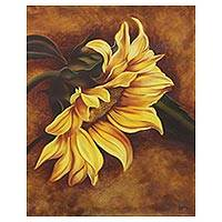 'Sunflower Bliss' - Signed Realist Painting of a Sunflower from India