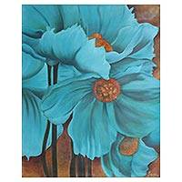 'Poppy In Blue' - Signed Realist Painting of Blue Poppies from India