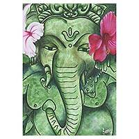 'Vighnaharta' - Signed Expressionist Painting of Ganesha from India