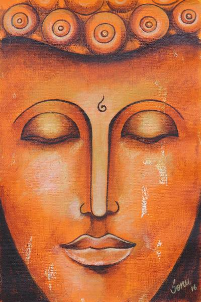 'Buddha At Peace' - Expressionist Painting of Buddha in Orange from India