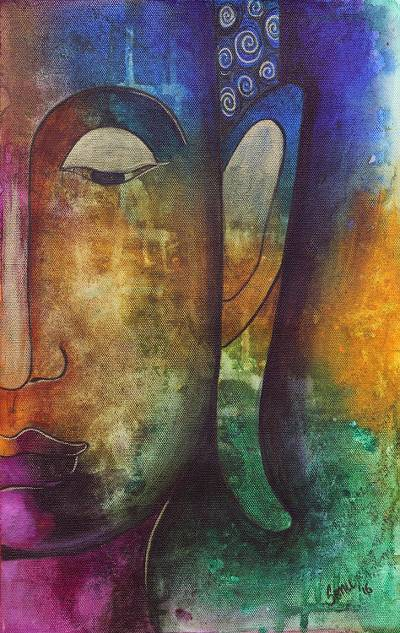 'Pensive Buddha' - Signed Multicolored Painting of Buddha from India