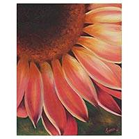 'Charismatic Sunflower' - Signed Realist Painting of a Sunflower from India