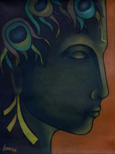 'Krishna in Meditation' - Signed Expressionist Painting of Krishna from India