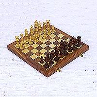 Wood chess set, 'Lotus Splendor' - Acacia Wood Lotus Chess Set with Magnetic Playing Pieces