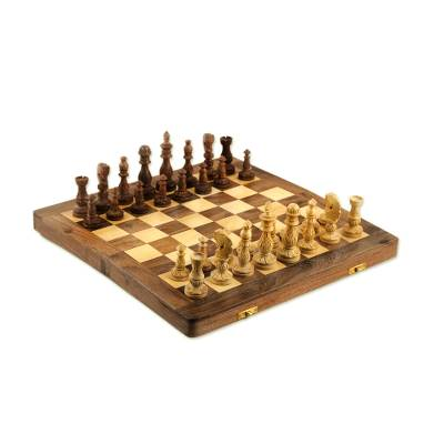 Floral Wood Chess Set with Playing Pieces and Storage