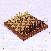 Wood chess set, 'Persian Grandeur' - Acacia and Kadam Wood Chess Set with Storage Inside