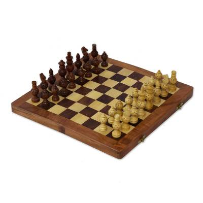Wood Inlay Chess Set with Star Motif Playing Pieces