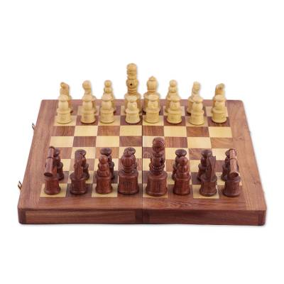 Handmade Portable Wood Chess Board Game Set from India