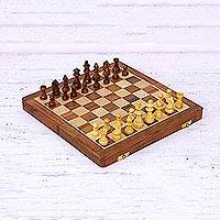 Wood chess set, 'Royal Delight' - Acacia and Kadam Wood Chess Set with Playing Pieces