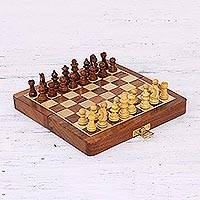 Wood mini chess set, 'Royal Pastime' - Acacia Wood Velvet Chess Set with Playing Pieces and Storage