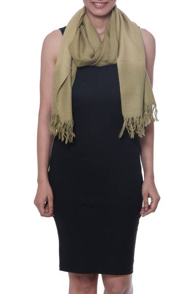 Cashmere scarf, 'New Spring' - Handwoven Green Cashmere Wrap Scarf with Fringe from India