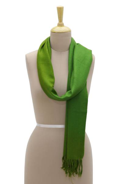 Cashmere scarf, 'Peaceful Pastures' - Handwoven Green Cashmere Wrap Scarf with Fringe from India