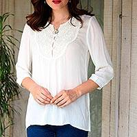 Rayon blouse, 'Afternoon Tea' - Snow White Lace Insert Three-Quarter Sleeve Rayon Blouse