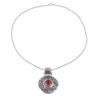 Handcrafted Carnelian and Sterling Silver Pendant Necklace