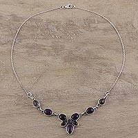Amethyst pendant necklace, 'Twilight Dewdrops' (India)