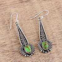 Sterling silver dangle earrings, 'Elegant Pendulum' - Green Semi-Precious Stone Sterling Silver Dangle Earrings