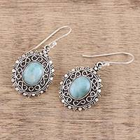 Larimar dangle earrings, 'Glacial Pools' - Handcrafted Oval Larimar Sterling Silver Dangle Earrings