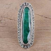 Agate cocktail ring, 'Enthralling Green' - Swirl Sterling Silver and Green Agate Oblong Cocktail Ring